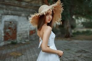 Brunette Girl In White Hat