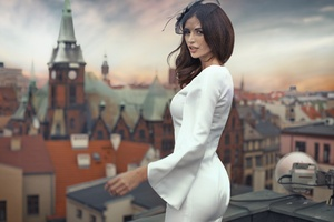 Brunette Girl White Dress Wallpaper