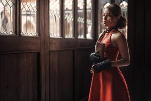 Brunette In Vintage Dress Design