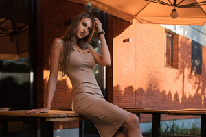 Brunette Outdoor Dress 4k Wallpaper