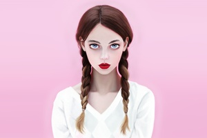 Brunette Red Lipstick Blue Eyes Face With Braids Wallpaper