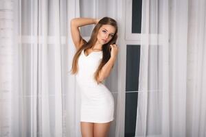 Brunette Woman White Dress 4k 5k