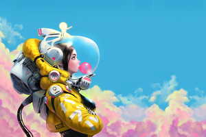 Bubble Gum Space Girl 8k Wallpaper