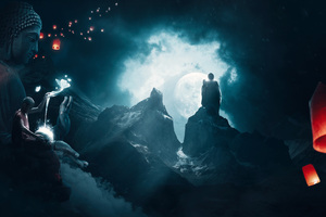 Buddha Monk Enlightment 5k Wallpaper