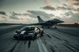 Bugatti Chiron And Dassault Rafale Marine Jet 8k Wallpaper