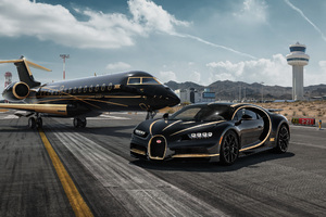 Bugatti Chiron And Private Jet Wallpaper