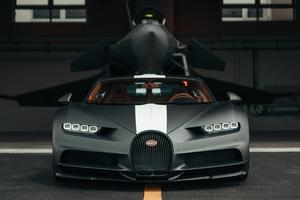 Bugatti Chiron Meets Dassault Rafale Marine Jet 5k Wallpaper