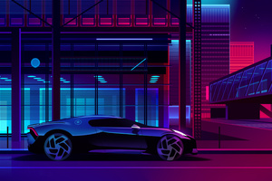 Bugatti Noire Neon Art Wallpaper
