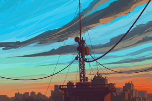 Building Antenna Clouds 4k Wallpaper