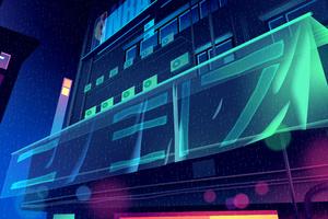 Buildings Glowing Digital Art 4k