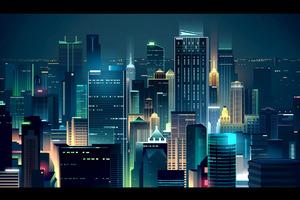 Buildings Lights Skyline Minimalist