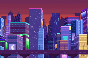 Buildings Pixel Art Cityscape 4k