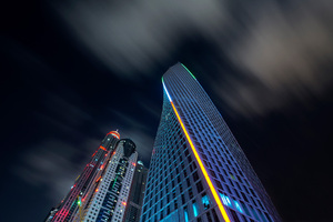 Buildings Skyscraper Dubai Nights 8k