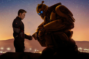 Bumblebee X Captain America 4k Wallpaper