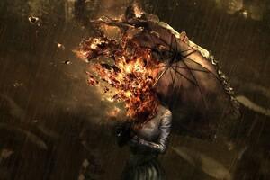 Burning Umbrella Girl