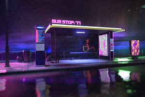 Bus Stop Cyberpunk 4k