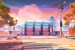 Bus Stops Anime Wallpaper