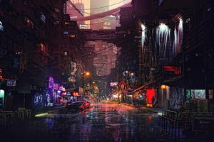 Busy Neon Street 4k Wallpaper