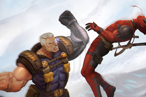 Cable Deadpool Fight Wallpaper