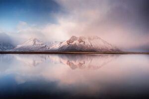 Calm Lake Mountains 8k
