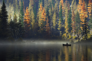 Calm Morning Boat Man Wallpaper
