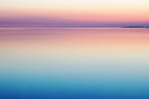 Calm Peaceful Colorful Sea Water Sunset