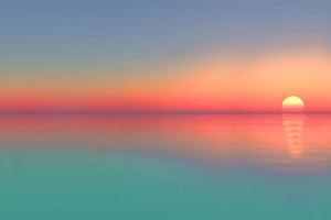 Calm Sunset Ocean Digital Art 5k Wallpaper