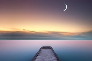 Calm Water And Pier Moon Wallpaper