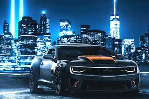 Camaro In Neon City 4k Wallpaper