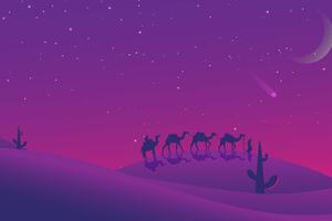 Camels Desert Evening Minimal 8k Wallpaper