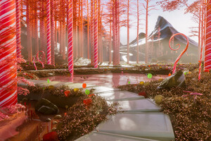 Candy Cane Forest 4k Wallpaper