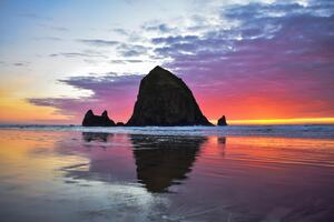 Cannon Beach Sunset 5k Wallpaper