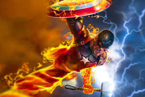 Captain America 4k Burning Hammer Wallpaper