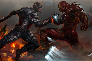 Captain America And Iron Man Fighting Artwork