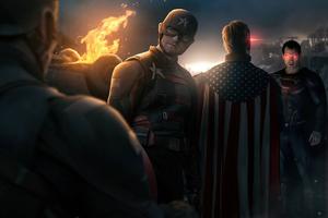 Captain America And Superman Vs US Agent And Homelander Wallpaper