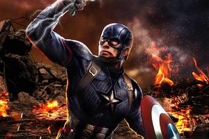 Captain America Avengers Endgame Mjolnir Wallpaper