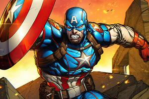 Captain America Cartoon Art Wallpaper