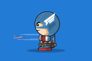Captain America Cartoon Minimal Art 4k