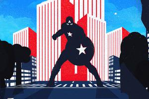 Captain America City Noise Minimal 4k Wallpaper