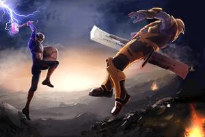 Captain America Fighting Thanos