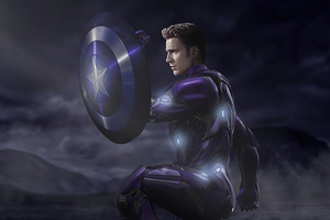 Captain America In Iron Suit With Shield Wallpaper