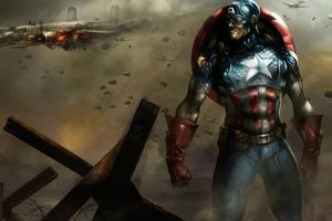 Captain America In Warzone Wallpaper
