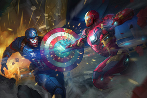Captain America Iron Man 4k Art Wallpaper