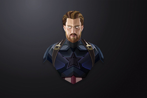 Captain America Lowpoly Minimalism