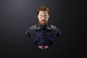 Captain America Lowpoly Minimalism