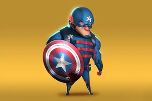 Captain America Minimal Cartoon Art 4k Wallpaper