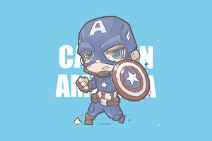 Captain America Minimal Chibbi 4k