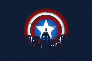 Captain America Minimal Illustration 5k Wallpaper