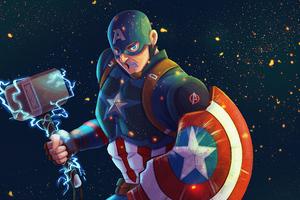 Captain America Mjolnir Artwork 4k 2020