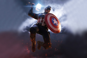 Captain America Mjolnir Artwork 4k Wallpaper